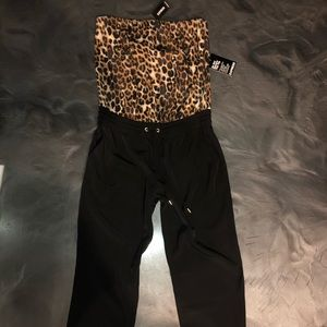 NEW-EXPRESS Sleeveless Leopard Ankle Jumpsuit- S -